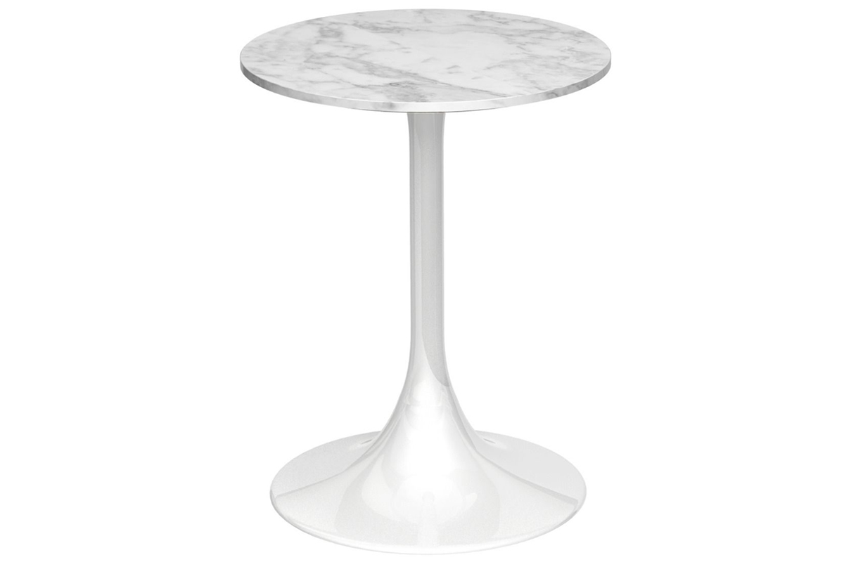 Marble Circular Side Table With White Base Lathams